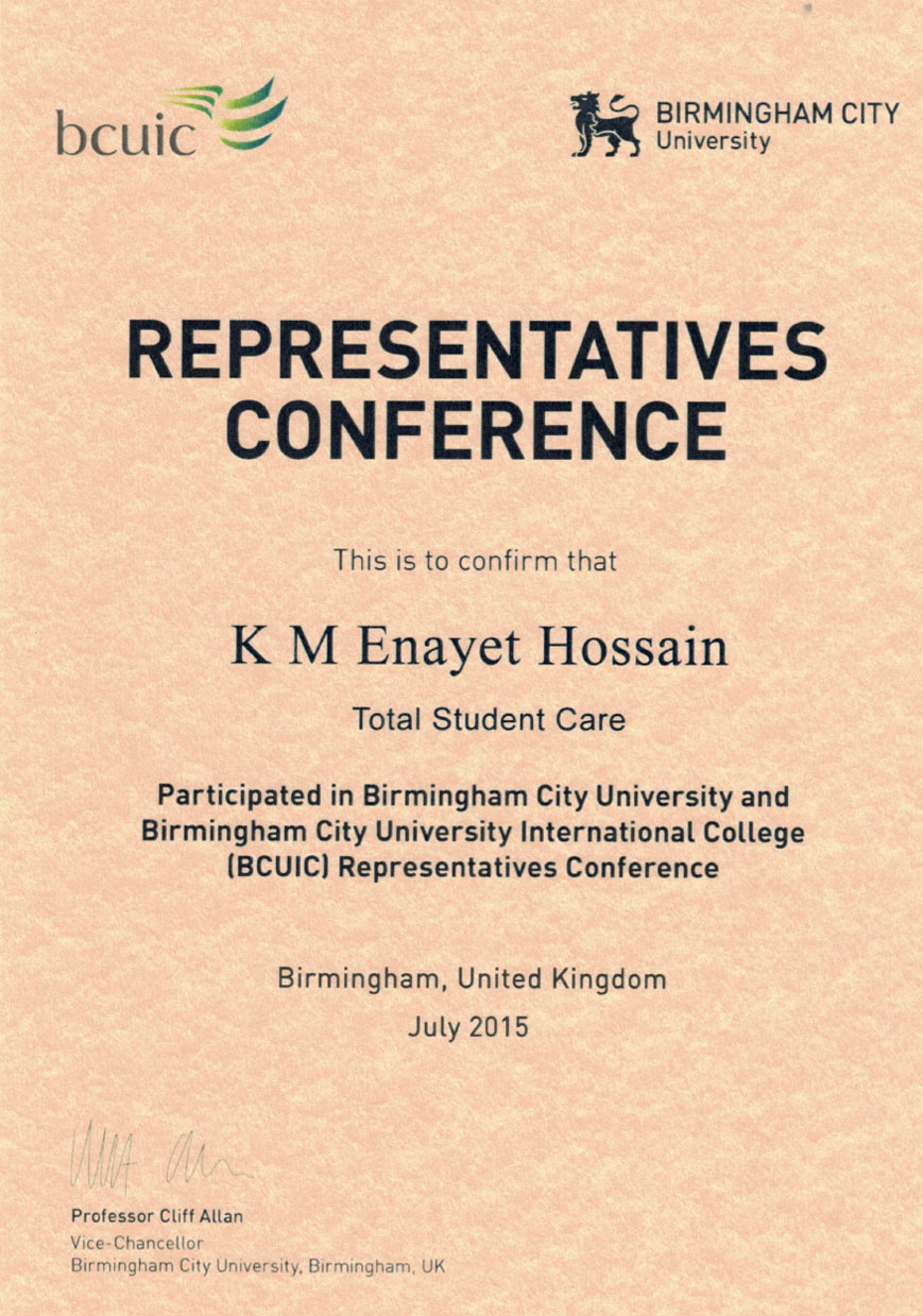 BCU - Representatives Conference Participation Certificate