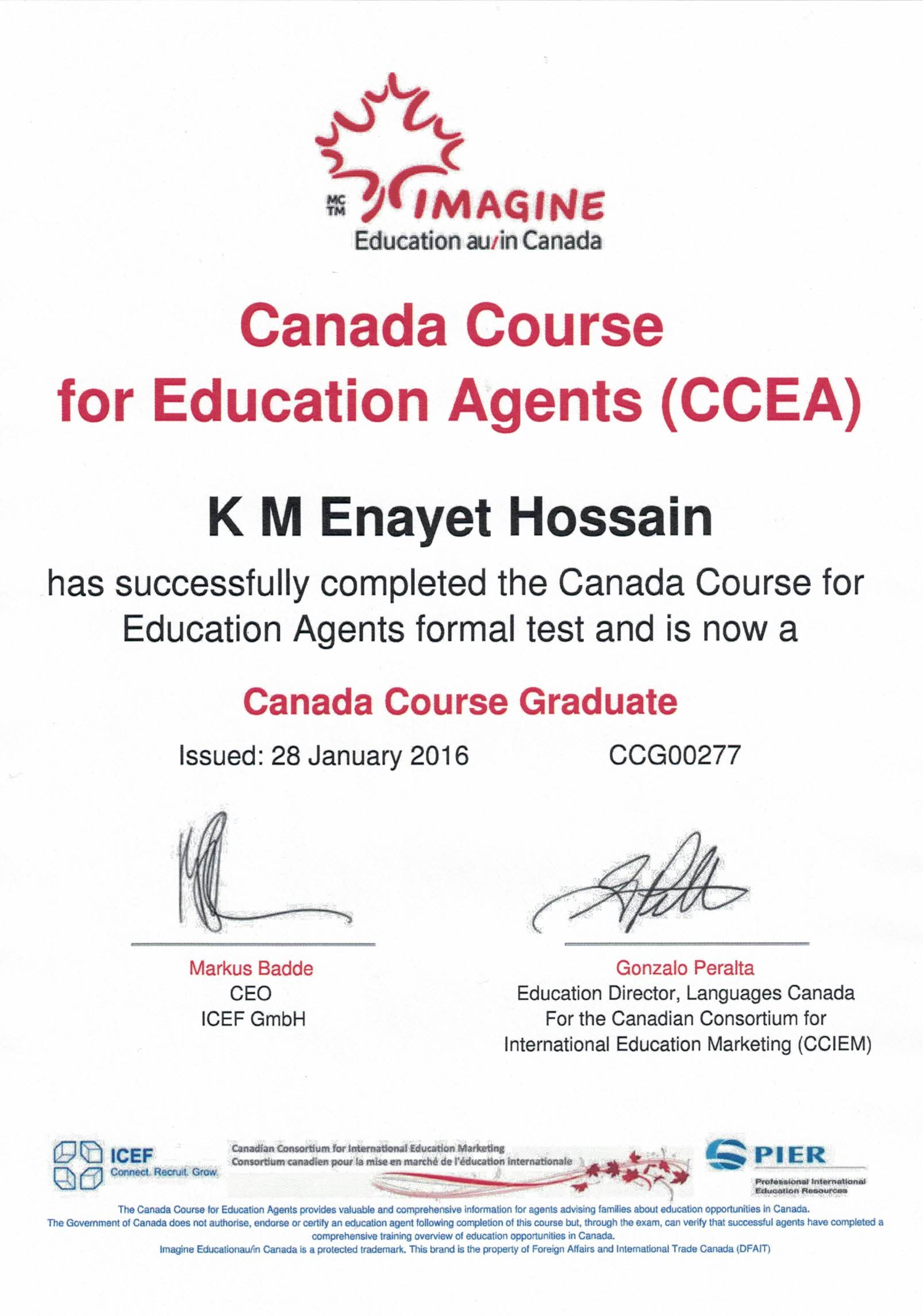 Canada Course for Education Agent Certificate