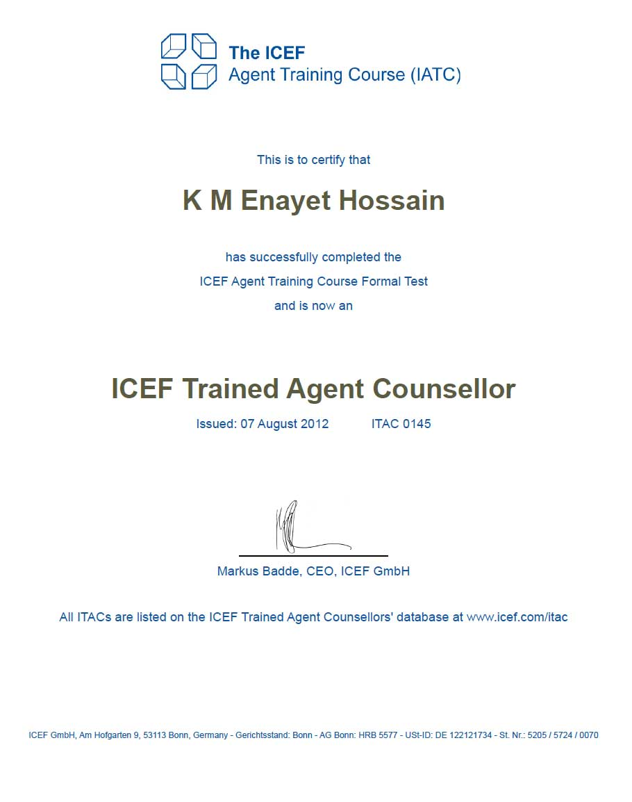 ICEF Trained Agent Consellor Certificate