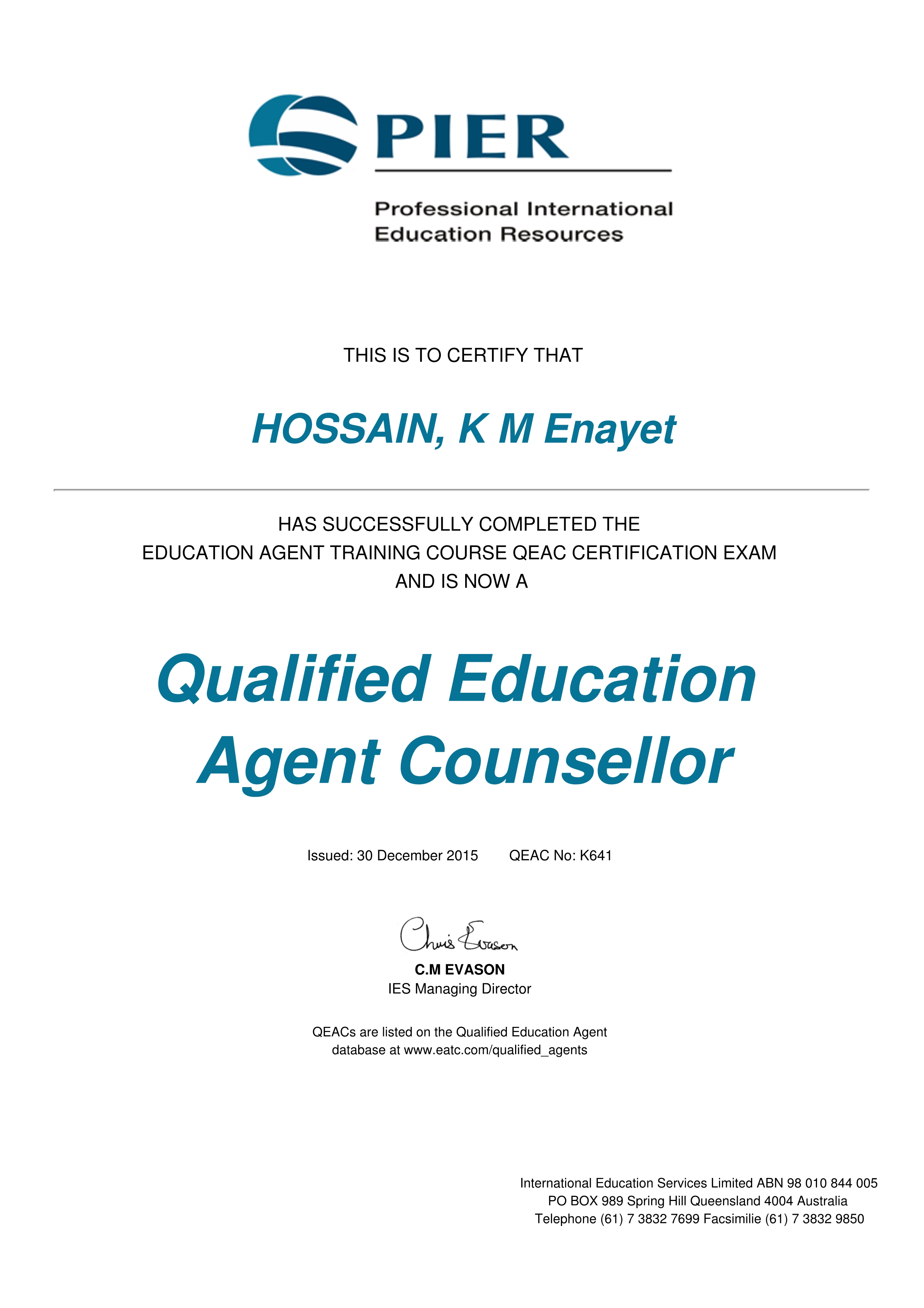 qualified international education agent certificates