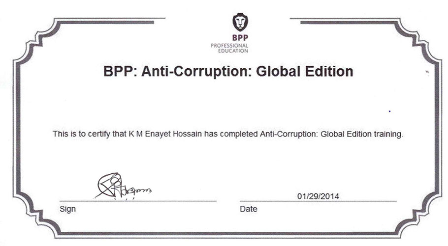 BPP Anti-Corruption Training Certificate