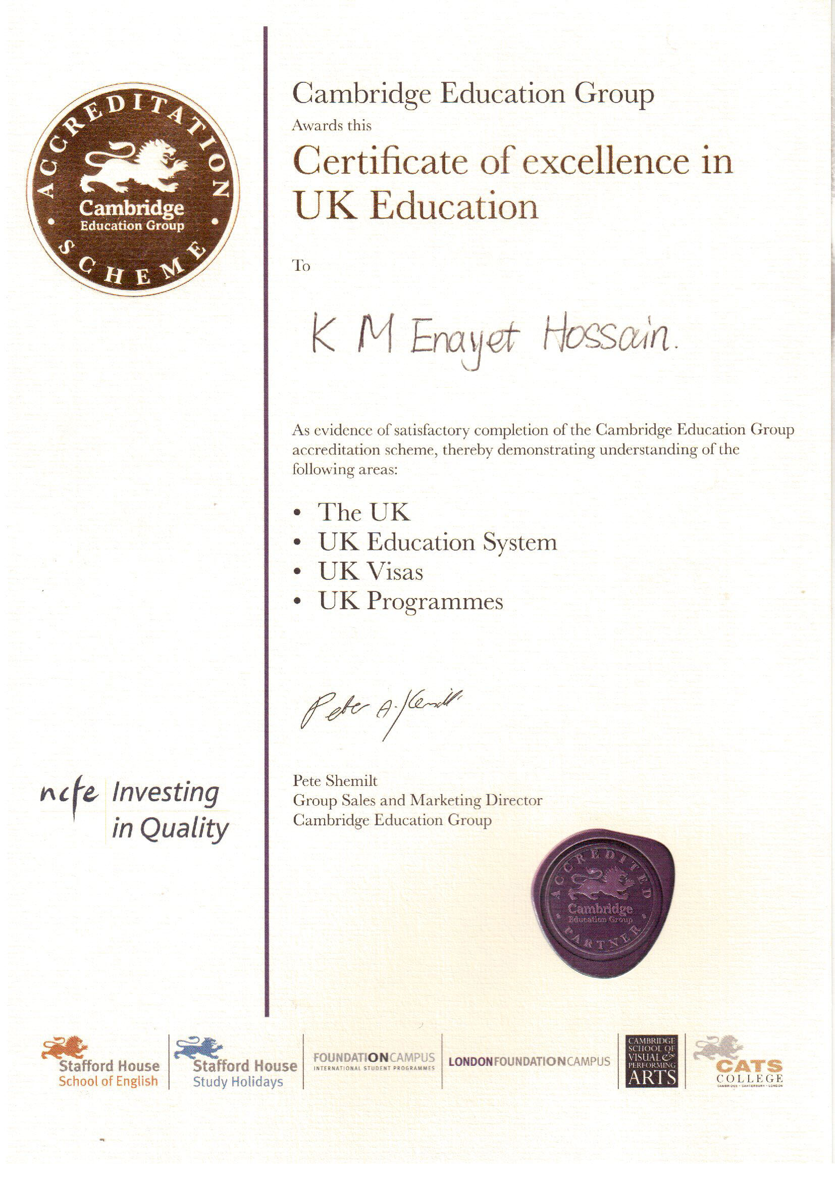 Certificate Of Excellent in UK Education