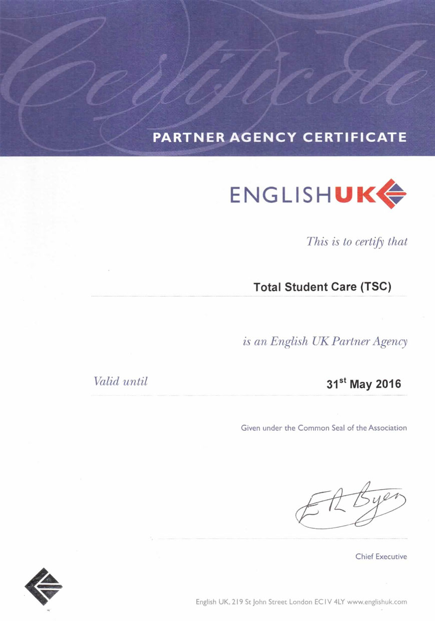 English UK Partner Agency Certificate