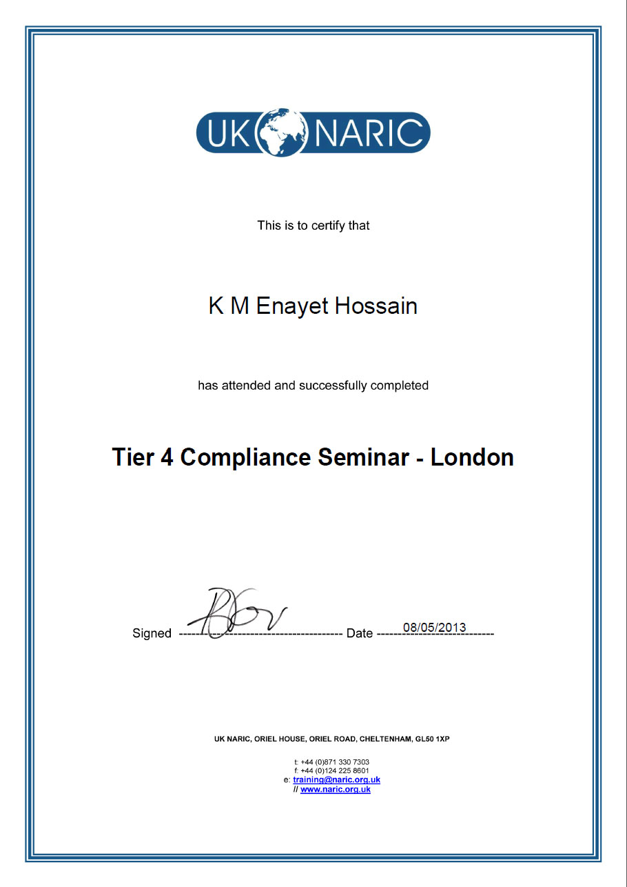 UK NARIC - Tier 4 Compliance Seminar